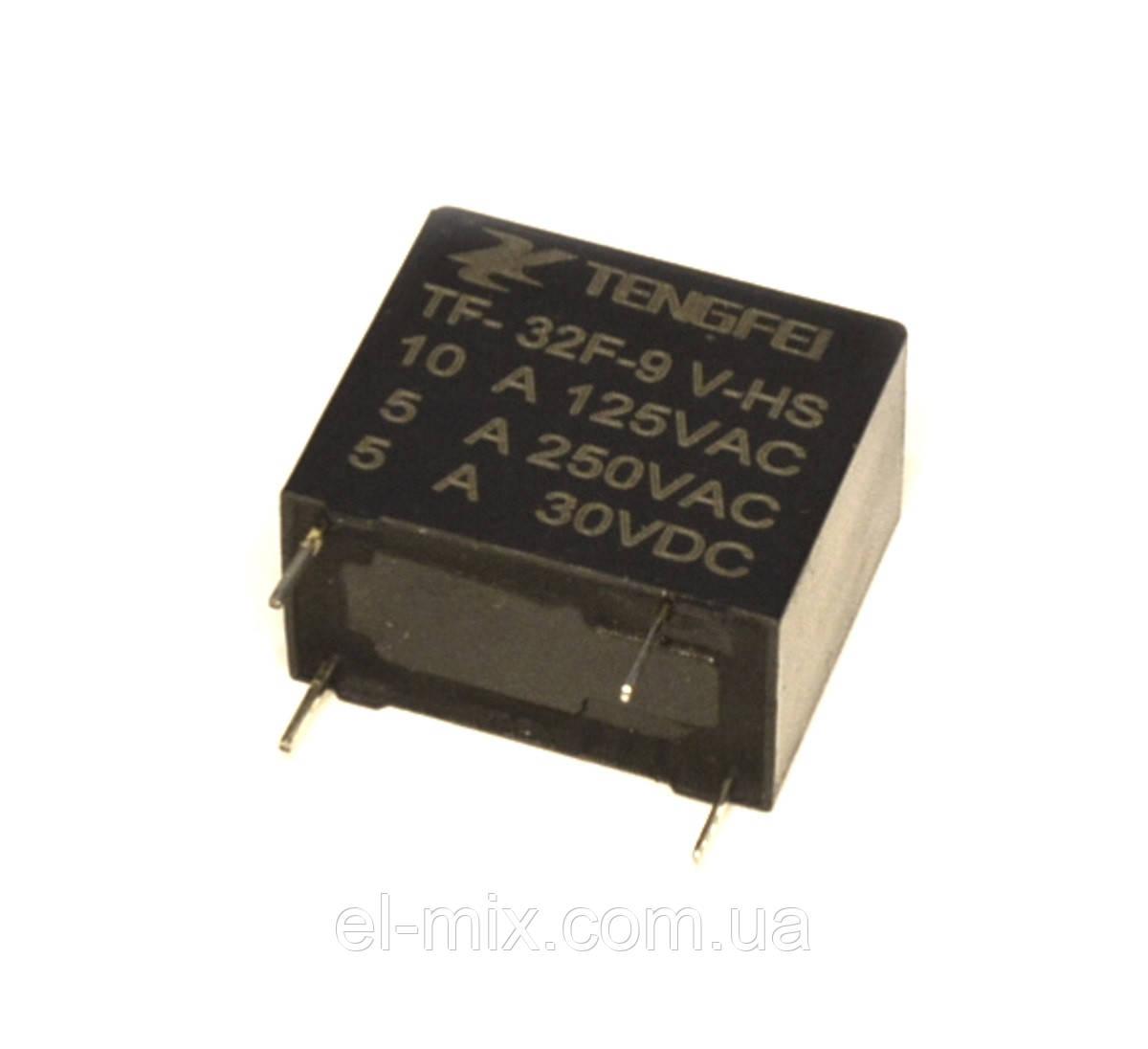 Реле   9V 1група  TF-32F-9V-HS-1A (JZC-32F) (5А 250V) 4pin off-on  Tengfei