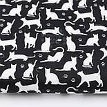 """Клапоть тканини """"Котики і мишки"""", білі на чорному, №2977, розмір 48*80 см, фото 2"""