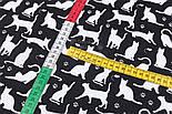 """Клапоть тканини """"Котики і мишки"""", білі на чорному, №2977, розмір 48*80 см, фото 4"""