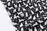 """Клапоть тканини """"Котики і мишки"""", білі на чорному, №2977, розмір 48*80 см, фото 6"""