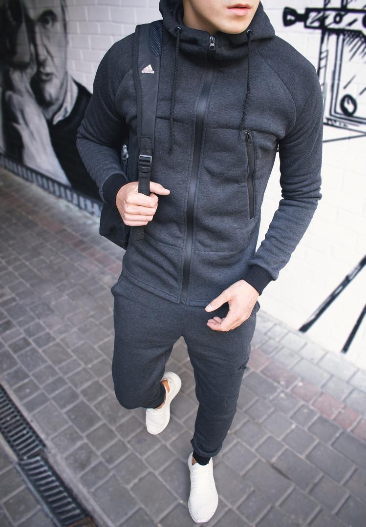 Мужской серый теплый спортивный костюм с капюшоном зима/осень.Кофта серая штаны серые демисезонный