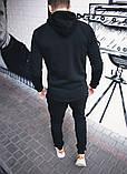 Мужской серый теплый спортивный костюм с капюшоном зима/осень.Кофта серая штаны серые демисезонный, фото 4