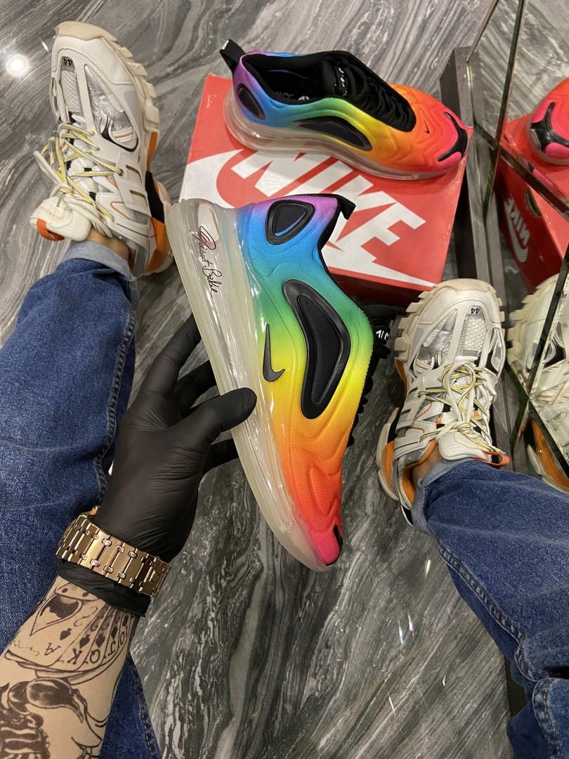 Nike Air Max 720 Женские осенние радужные текстильные кроссовки. Женские кроссовки на шнурках