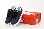 Nike Air Force  Женские осенние черные кожаные кроссовки. Женские кроссовки на шнурках, фото 5