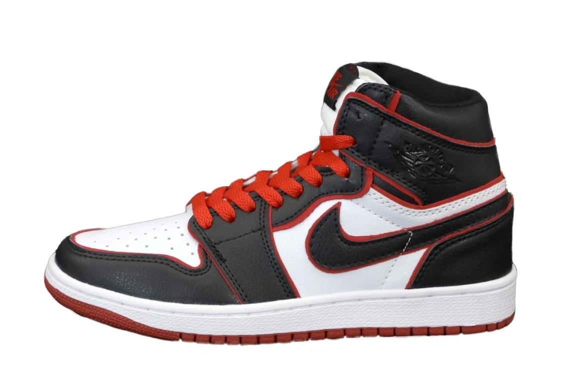 Jordan 1 Retro Женские осенние черно-бело-красные кожаные кроссовки. Женские кроссовки на шнурках