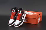 Jordan 1 Retro Женские осенние черно-бело-красные кожаные кроссовки. Женские кроссовки на шнурках, фото 6