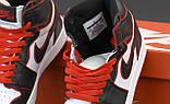 Jordan 1 Retro Женские осенние черно-бело-красные кожаные кроссовки. Женские кроссовки на шнурках, фото 7