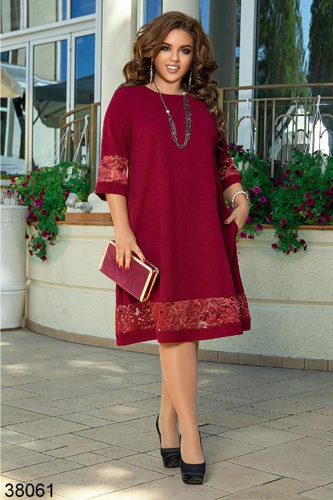 Бордовое нарядное платье батал Украина Минова Размеры: 50-52, 54-56, 58-60, 62-64