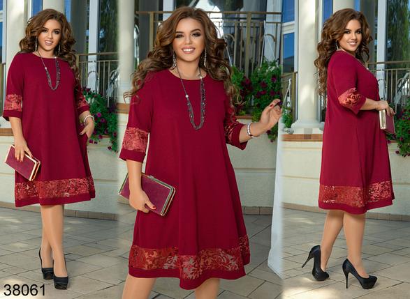 Бордовое нарядное платье батал Украина Минова Размеры: 50-52, 54-56, 58-60, 62-64, фото 2