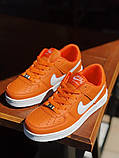 Nike Air Force Женские осенние оранжевые кожаные кроссовки. Женские кроссовки на шнурках, фото 2
