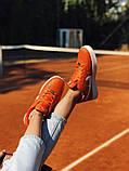 Nike Air Force Женские осенние оранжевые кожаные кроссовки. Женские кроссовки на шнурках, фото 3