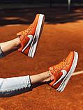 Nike Air Force Женские осенние оранжевые кожаные кроссовки. Женские кроссовки на шнурках, фото 4