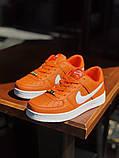 Nike Air Force Женские осенние оранжевые кожаные кроссовки. Женские кроссовки на шнурках, фото 5