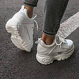 BUFFALO LONDON Женские осенние белые кожаные кроссовки. Женские кроссовки на шнурках, фото 8