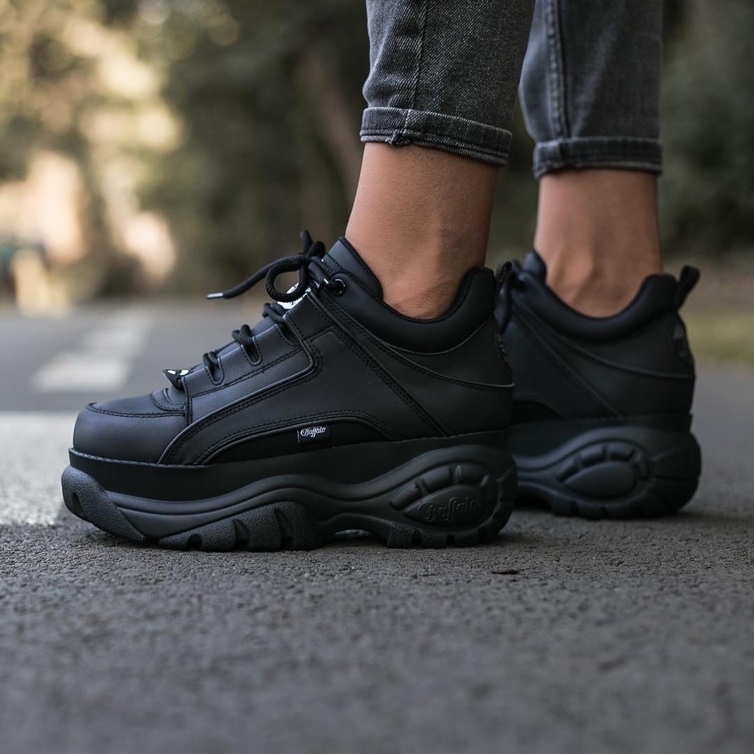 BUFFALO LONDON Женские осенние черные кожаные кроссовки. Женские кроссовки на шнурках