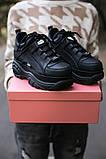 BUFFALO LONDON Женские осенние черные кожаные кроссовки. Женские кроссовки на шнурках, фото 2