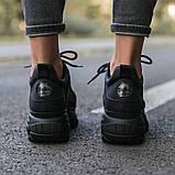 BUFFALO LONDON Женские осенние черные кожаные кроссовки. Женские кроссовки на шнурках, фото 4