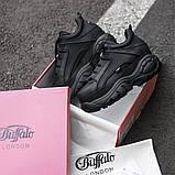 BUFFALO LONDON Женские осенние черные кожаные кроссовки. Женские кроссовки на шнурках, фото 5