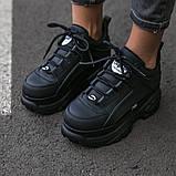 BUFFALO LONDON Женские осенние черные кожаные кроссовки. Женские кроссовки на шнурках, фото 6