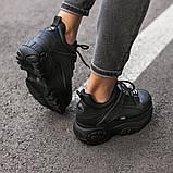 BUFFALO LONDON Женские осенние черные кожаные кроссовки. Женские кроссовки на шнурках, фото 7
