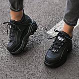 BUFFALO LONDON Женские осенние черные кожаные кроссовки. Женские кроссовки на шнурках, фото 8