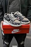 Nike SB Dunk x Travis Scott Женские коричневые кожаные кроссовки. Женские кроссовки на шнурках, фото 3