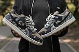 Nike SB Dunk x Travis Scott Женские коричневые кожаные кроссовки. Женские кроссовки на шнурках, фото 4
