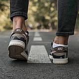 Nike SB Dunk x Travis Scott Женские коричневые кожаные кроссовки. Женские кроссовки на шнурках, фото 5