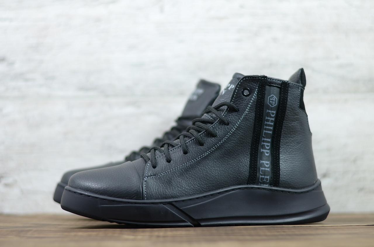 Philipp Plein мужские зимние черные кожаные ботинки на меху. Мужские ботинки на шнурках