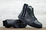 Philipp Plein мужские зимние черные кожаные ботинки на меху. Мужские ботинки на шнурках, фото 4