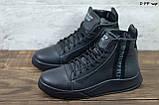 Philipp Plein мужские зимние черные кожаные ботинки на меху. Мужские ботинки на шнурках, фото 5