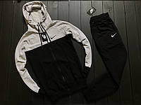 Мужской весенний спортивный костюм Nike (light gray/black), черно-серый спортивный костюм, (Реплика ААА)