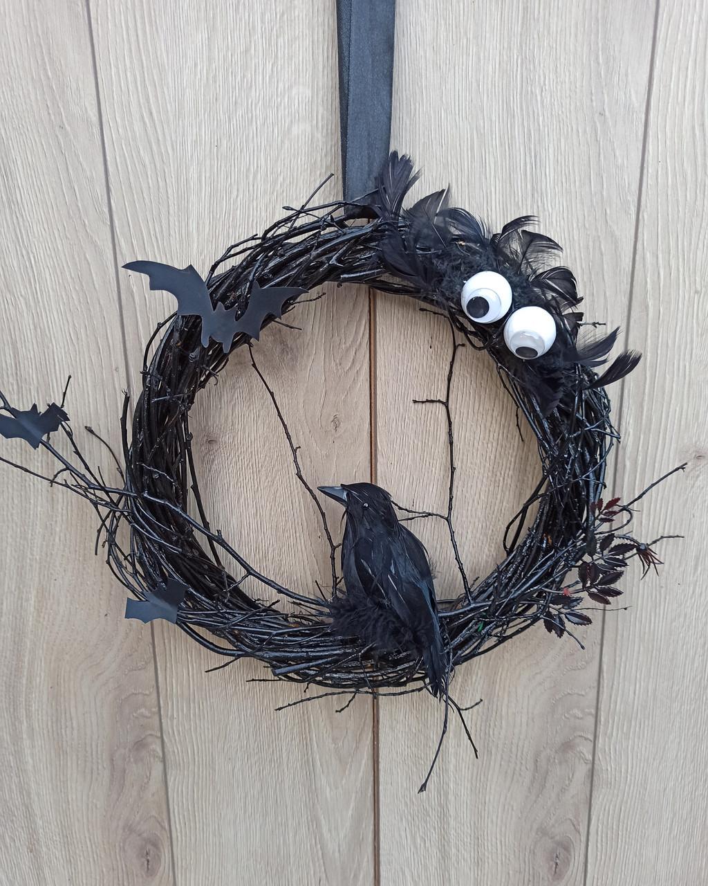 Чорний Декоративний вінок до Хеловіну (Хеллоуїну)