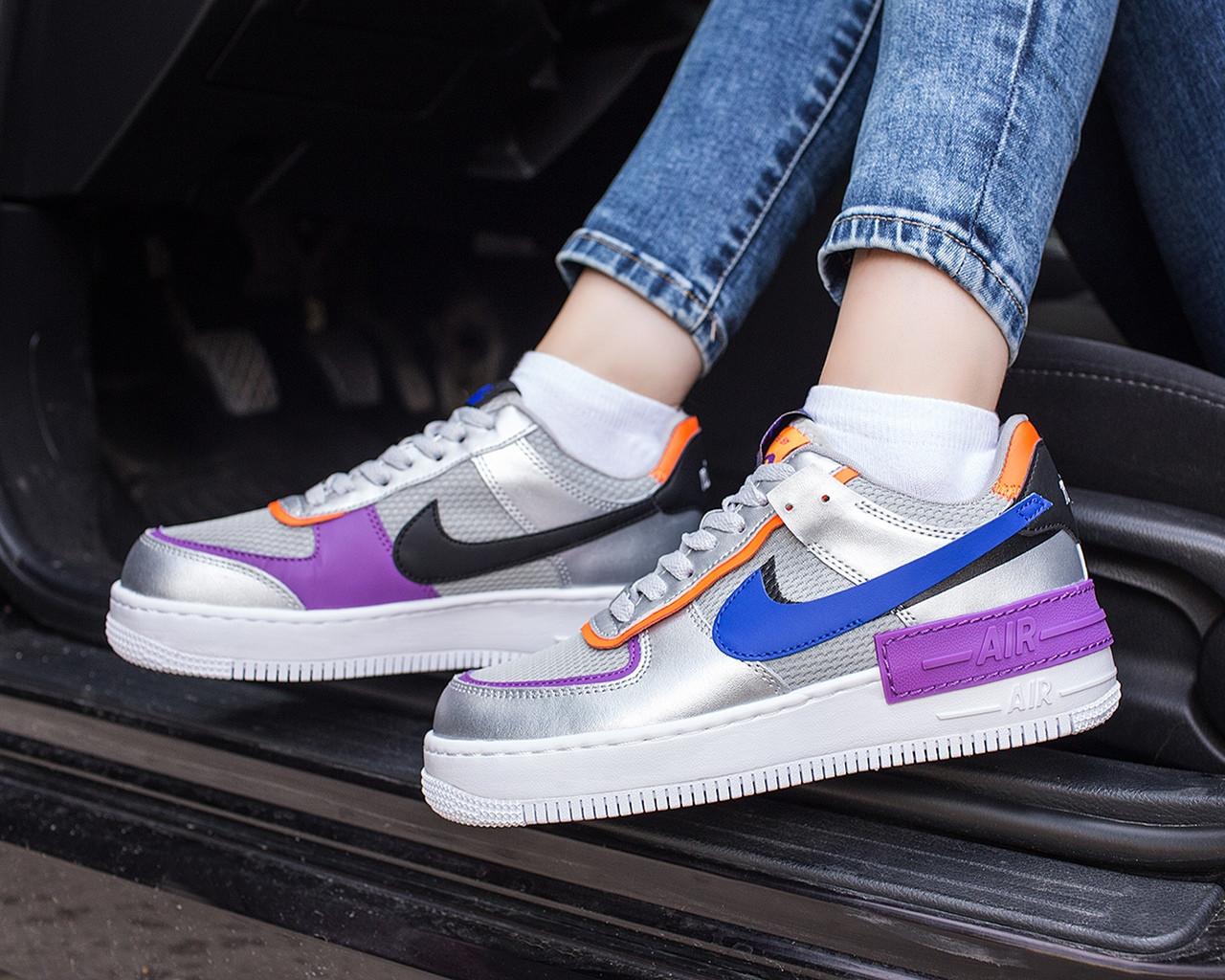 Nike Air Force 1 Shadow Женские осенние серые кожаные кроссовки. Женские кроссовки на шнурках