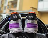 Nike Air Force 1 Shadow Женские осенние серые кожаные кроссовки. Женские кроссовки на шнурках, фото 3
