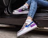 Nike Air Force 1 Shadow Женские осенние серые кожаные кроссовки. Женские кроссовки на шнурках, фото 6