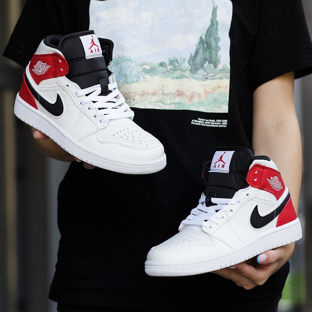 Nike Air Jordan 1 Retro High  Женские осенние бело-красные кожаные кроссовки. Женские кроссовки на шнурках