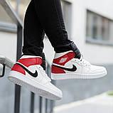 Nike Air Jordan 1 Retro High  Женские осенние бело-красные кожаные кроссовки. Женские кроссовки на шнурках, фото 2