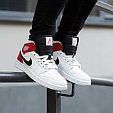 Nike Air Jordan 1 Retro High  Женские осенние бело-красные кожаные кроссовки. Женские кроссовки на шнурках, фото 3