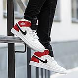Nike Air Jordan 1 Retro High  Женские осенние бело-красные кожаные кроссовки. Женские кроссовки на шнурках, фото 4