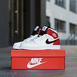 Nike Air Jordan 1 Retro High  Женские осенние бело-красные кожаные кроссовки. Женские кроссовки на шнурках, фото 5