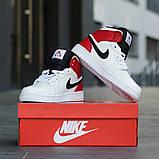 Nike Air Jordan 1 Retro High  Женские осенние бело-красные кожаные кроссовки. Женские кроссовки на шнурках, фото 6