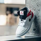 Nike Air Jordan 1 Retro High  Женские осенние бело-красные кожаные кроссовки. Женские кроссовки на шнурках, фото 7