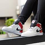 Nike Air Jordan 1 Retro High  Женские осенние бело-красные кожаные кроссовки. Женские кроссовки на шнурках, фото 8