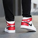 Nike Air Jordan 1 Retro High  Женские осенние бело-красные кожаные кроссовки. Женские кроссовки на шнурках, фото 9