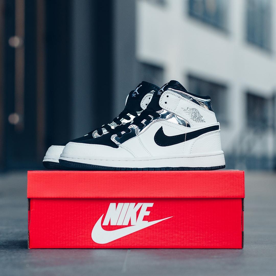 Nike Air Jordan 1 Mid Alternate Женские осенние черно-белые кожаные кроссовки. Женские кроссовки на шнурках