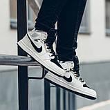 Nike Air Jordan 1 Mid Alternate Женские осенние черно-белые кожаные кроссовки. Женские кроссовки на шнурках, фото 2