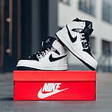Nike Air Jordan 1 Mid Alternate Женские осенние черно-белые кожаные кроссовки. Женские кроссовки на шнурках, фото 3