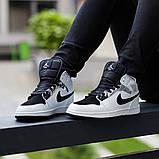 Nike Air Jordan 1 Mid Alternate Женские осенние черно-белые кожаные кроссовки. Женские кроссовки на шнурках, фото 4