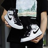 Nike Air Jordan 1 Mid Alternate Женские осенние черно-белые кожаные кроссовки. Женские кроссовки на шнурках, фото 5